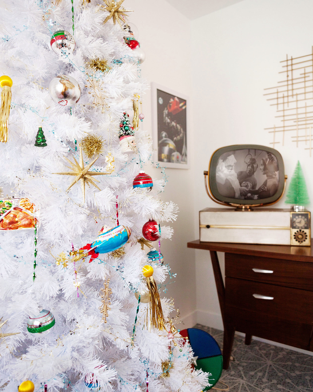 Retro Space Age themed Christmas tree