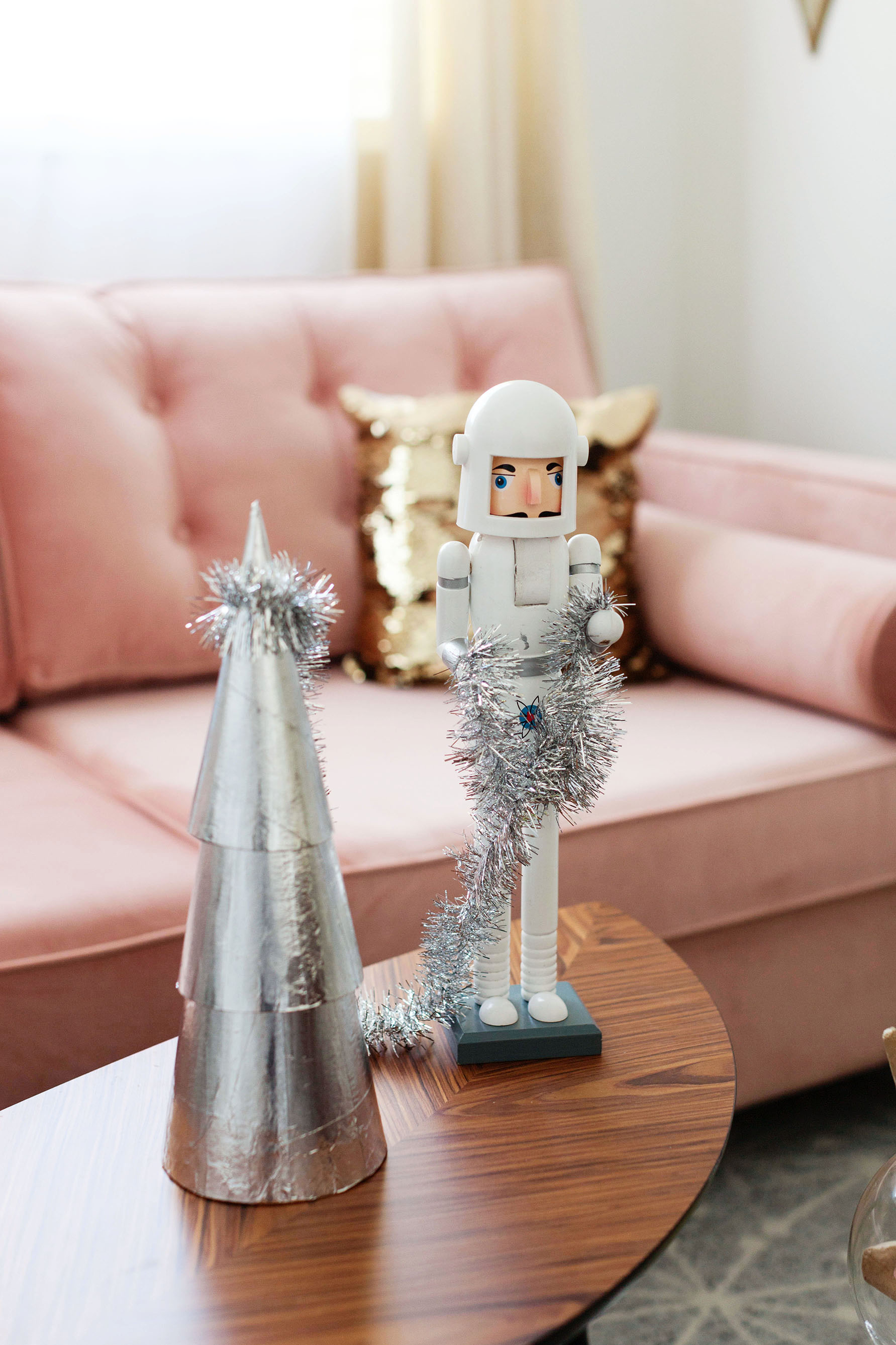 Space Age themed Christmas decorations